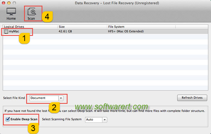 scan documents using mac data recovery