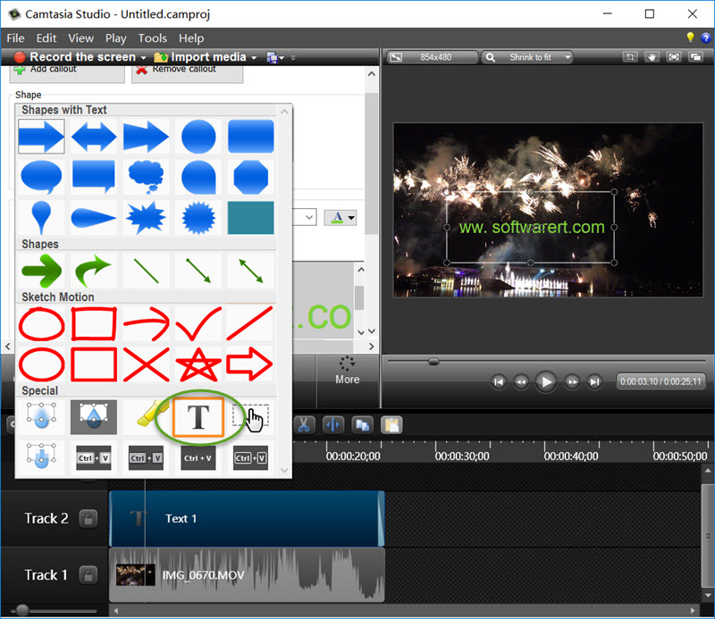add text watermark to video in camtasia studio on pc