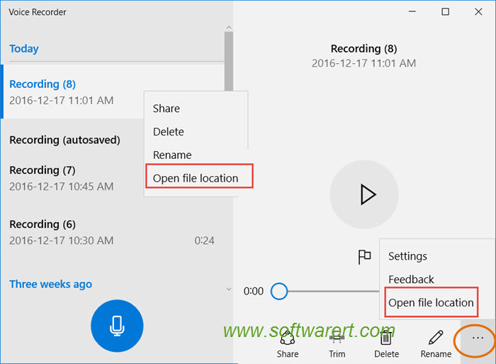 open voice recorder file location on windows 10 pc