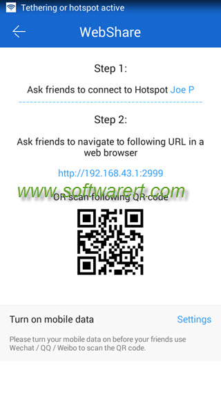 use shareit webshare from android phone