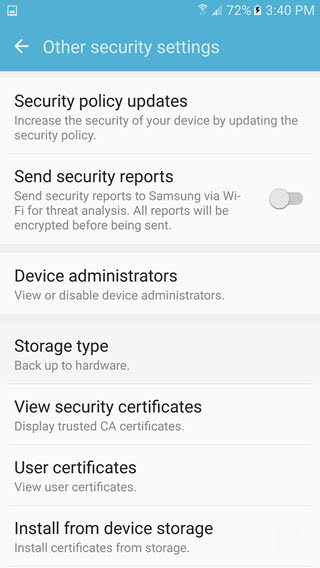 samsung galaxy s7 security settings device administrators
