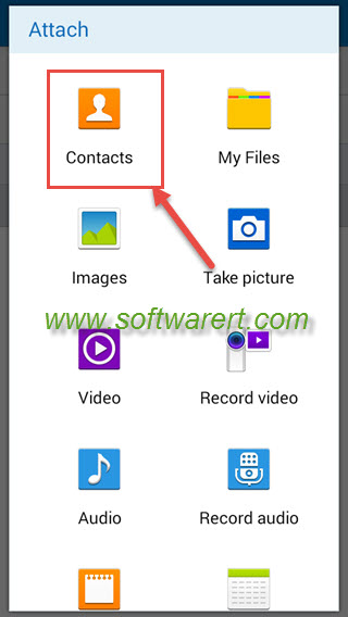 attach contacts to email on samsung phone