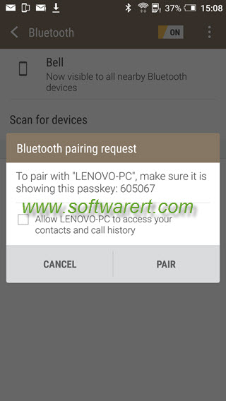 htc mobile phone to pair pc - bluetooth pairing request