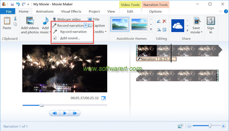 record narration, add sound in windows movie maker