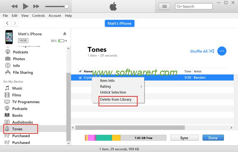delete ringtone on iphone ipad using itunes for pc