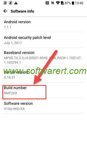 turn on developer options lg mobile phone, android 7