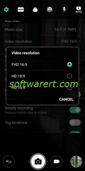 change video resolution, aspect ratio from camera settings on lg mobile phone
