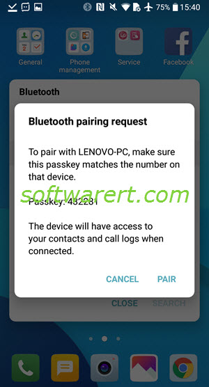 Transfer files between LG phone and computer via Bluetooth