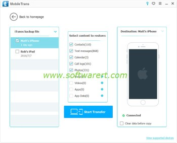 Selective restore of iTunes backup to iPhone