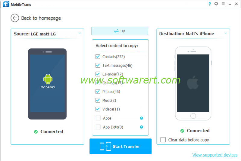 transfer data from lg phone to iphone using mobile transfer