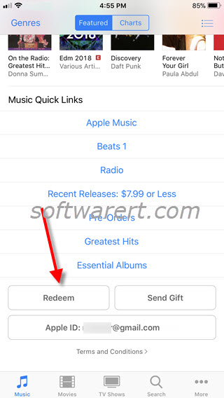 redeem gift cards in itunes store on iphone