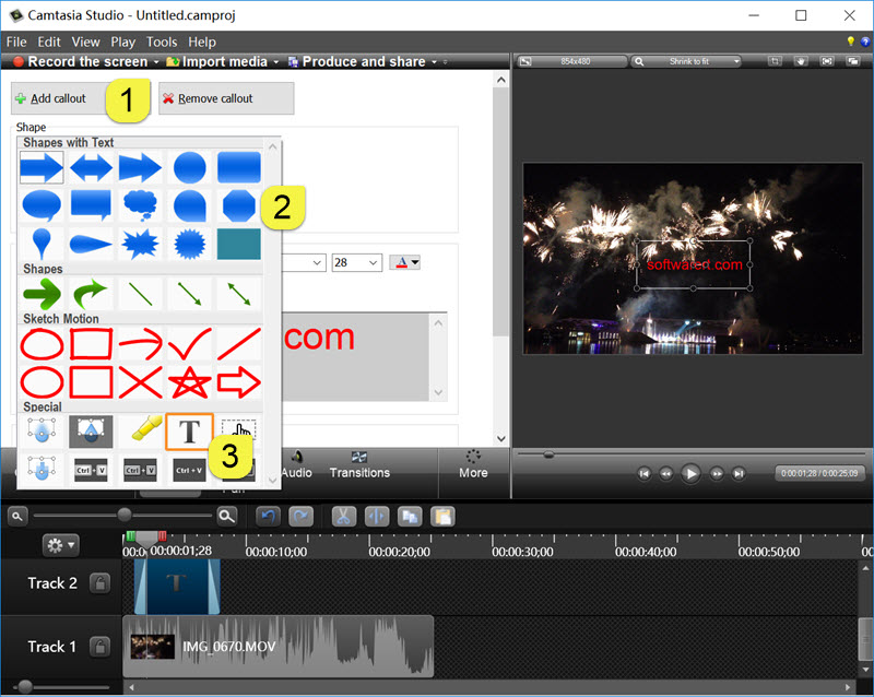 add text and callouts to video in camtasia studio for windows