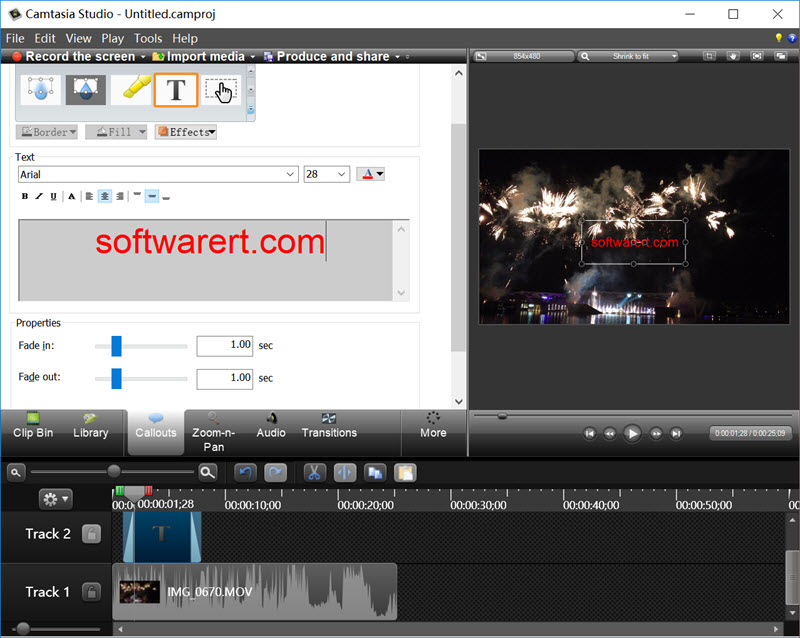 edit text on video in camtasia studio for windows