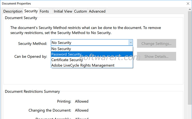 pdf file properties document password security in adobe acrobat pro for windows
