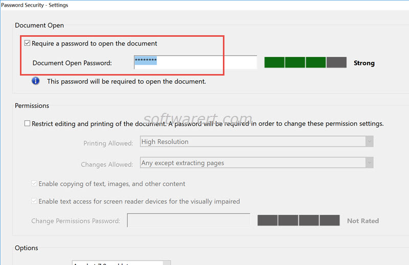 set pdf document open password in adobe acrobat pro for windows