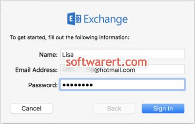 enter hotmail address password in mail app on mac