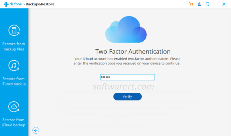 restore data from icloud backup - signin two factor authentication using dcfon for windows