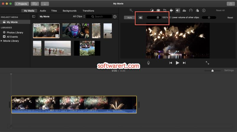 mute video, adjust volume in imovie for mac