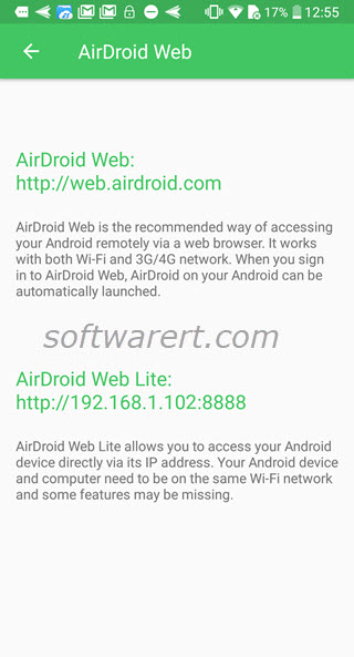 airdroid web access addresses on android mobile phone