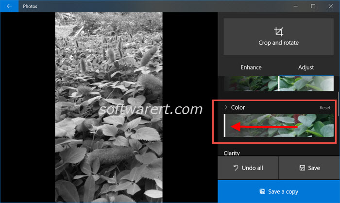 Create black and white photos in Windows 10