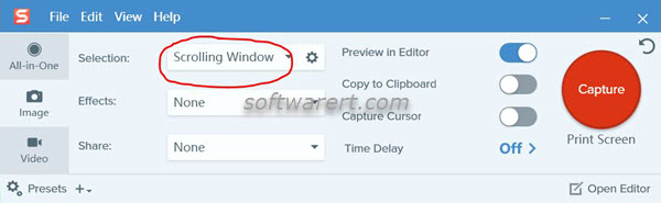 capture scrolling window using snagit for windows on pc
