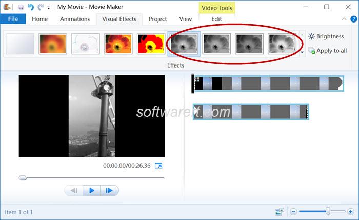 convert videos black white in windows movie maker