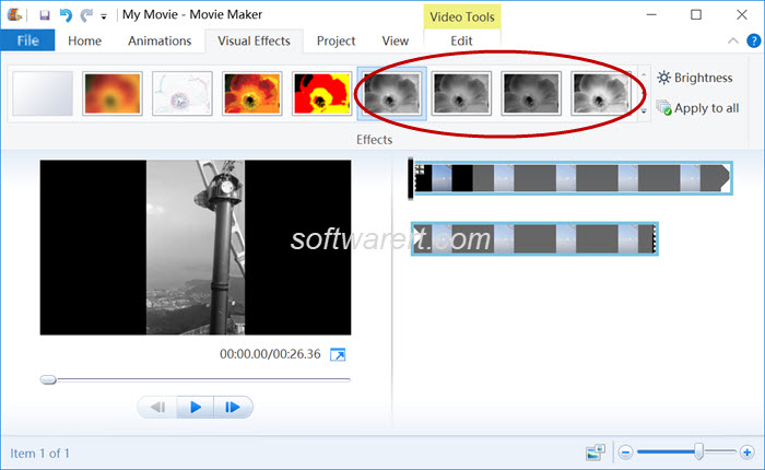 convert videos black white in windows movie maker