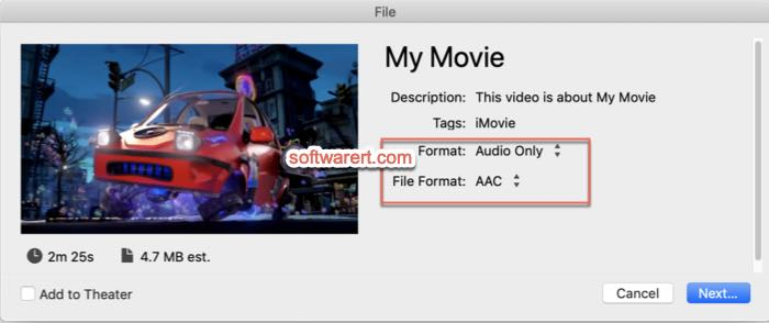 extract audio, music from video movie on Mac with imovie