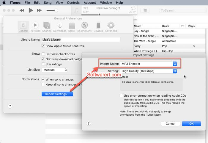 enable MP3 encoder in iTunes preference import settings on Mac