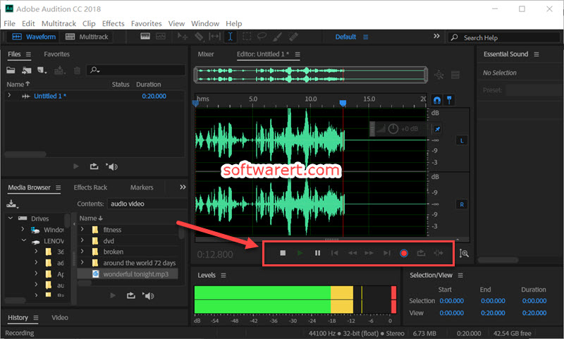 record audio files using Adobe Audition on Windows computer