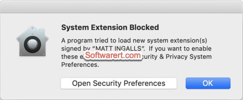 Soundflower system extension installation blocked on Mac