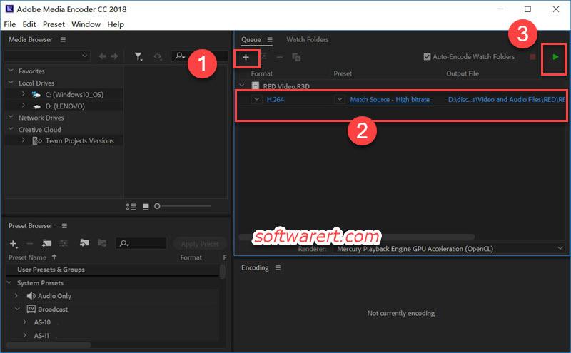 convert RED R3D videos using Adobe Media Encoder for Windows
