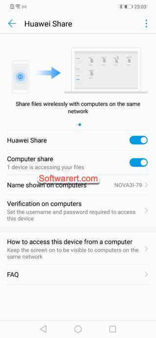 enable Huawei share, computer share, Huawei mobile phone
