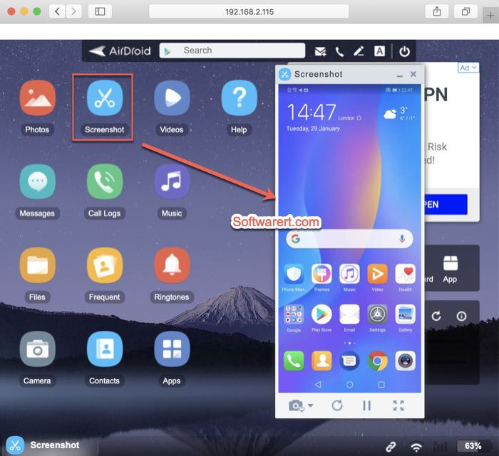 mirror huawei phone screen to Mac using AirDroid web