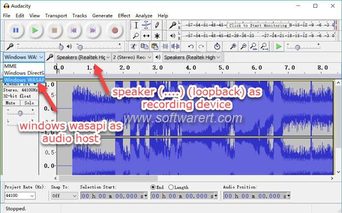 record system audio, streaming music, internet radio using Audacity for Windows