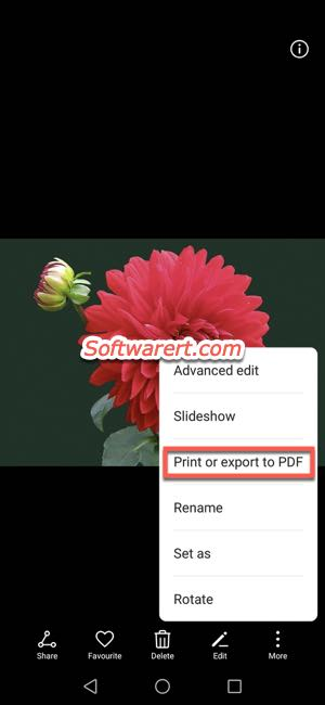 print export photo as PDF on Huawei mobile phone