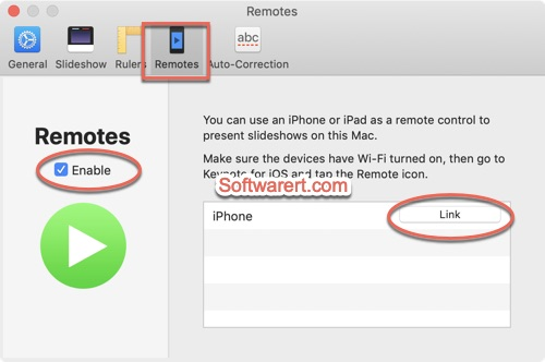 Keynote for Mac enable remotes, link iPhone
