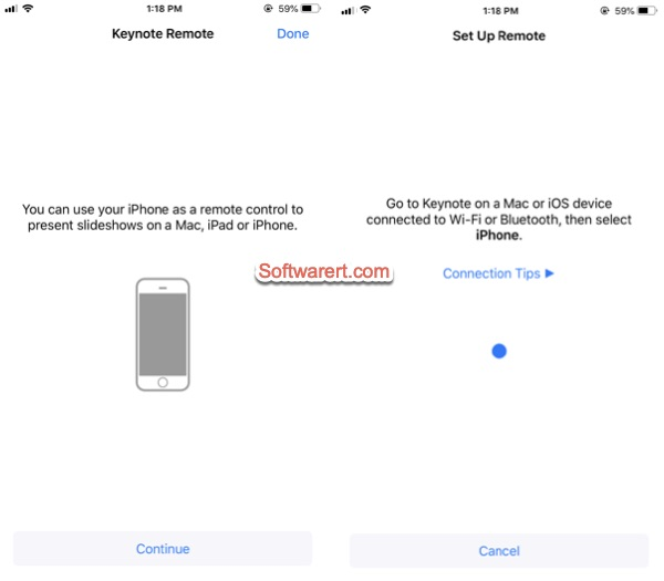 set up keynote remote control on iphone