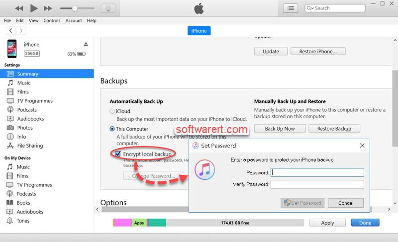 encrypt iphone itunes backup password - automatic backup - windows computer