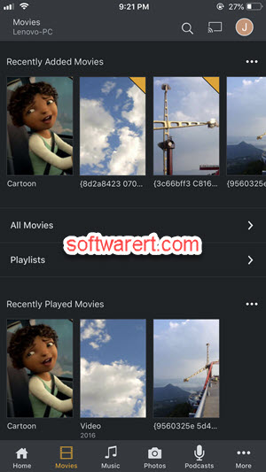 Plex media player for iPhone - movies