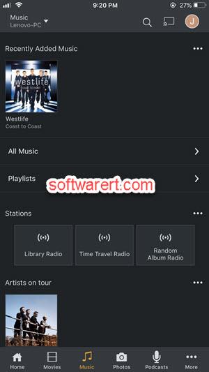 Plex media player for iPhone - music