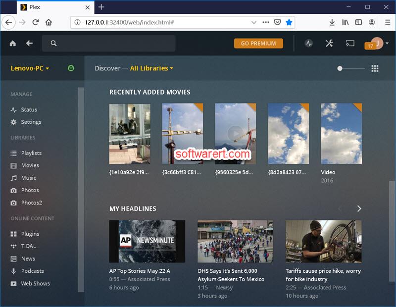 plex media server on Windows pc - web app