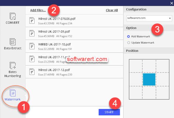 batch add watermark to multiple pdf files - pdf element