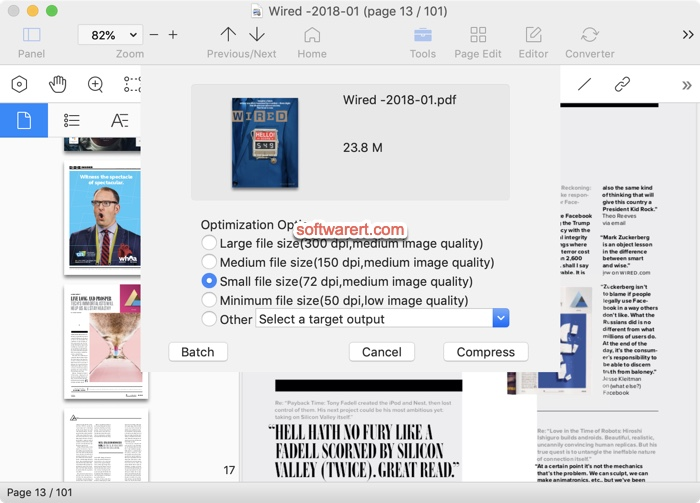 compress pdf file on Mac using pdf reader pro