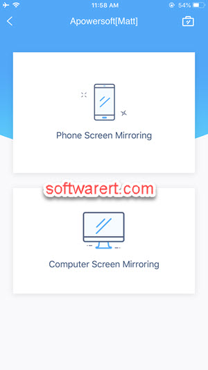 iphone PC mirroring modes selection apower