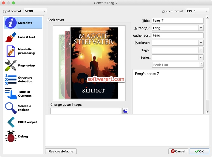 Convert .mobi to .epub book using calibre on Mac
