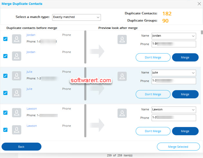 merge duplicate contacts on android phone using dr fone for windows