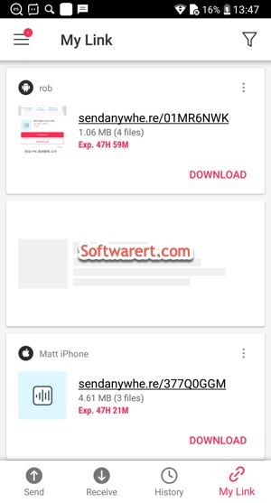 send anywhere for android manage shared links