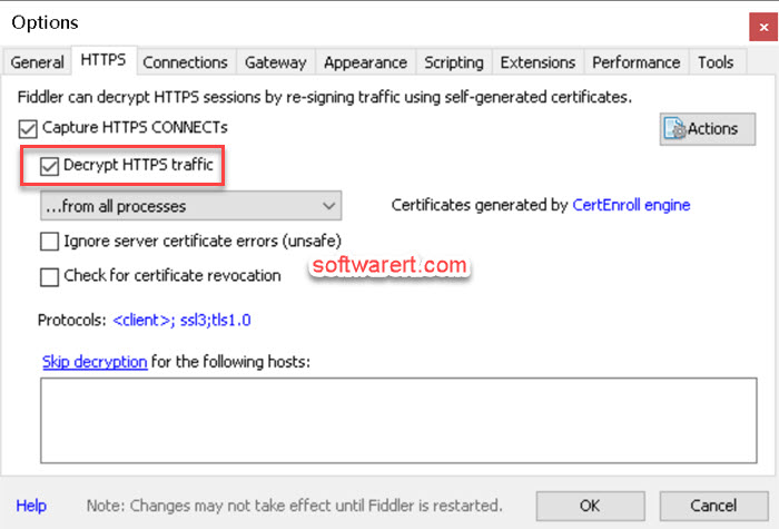 record, decrypt https ssl network traffic fiddler windows pc