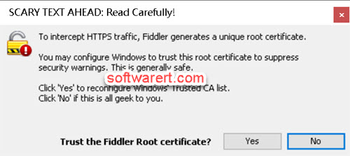 to install and trust fiddler root certificate on windows pc